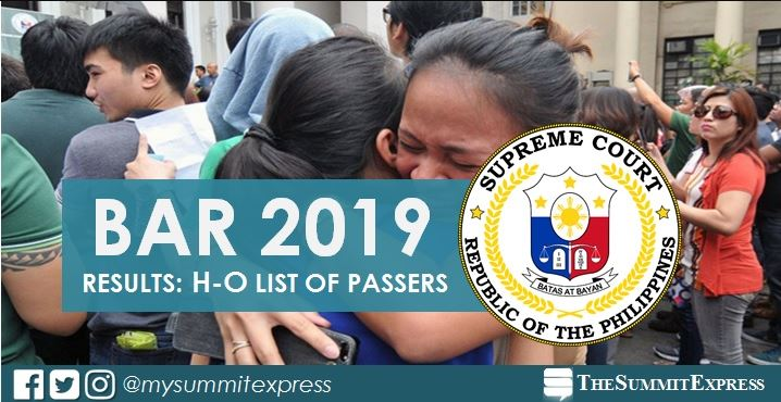 H-O Passers: 2019 Bar Exam Result