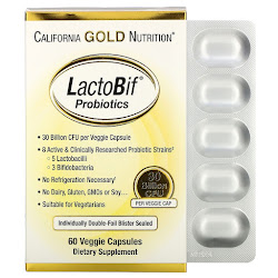 California Gold Nutrition, LactoBif, пробиотики, 30 млрд КОЕ, 60 вегетарианских капсул