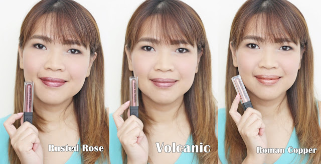 a photo of askmewhats wearing Sleek MakeUP Metallic Matte Lip Creams Review in Rusted Rose, Volcanic and Roman Copper