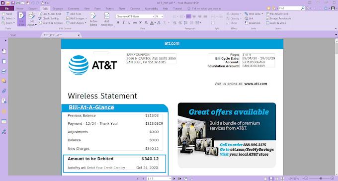 AT&T Wireless Statement EDITABLE PDF TEMPLATE