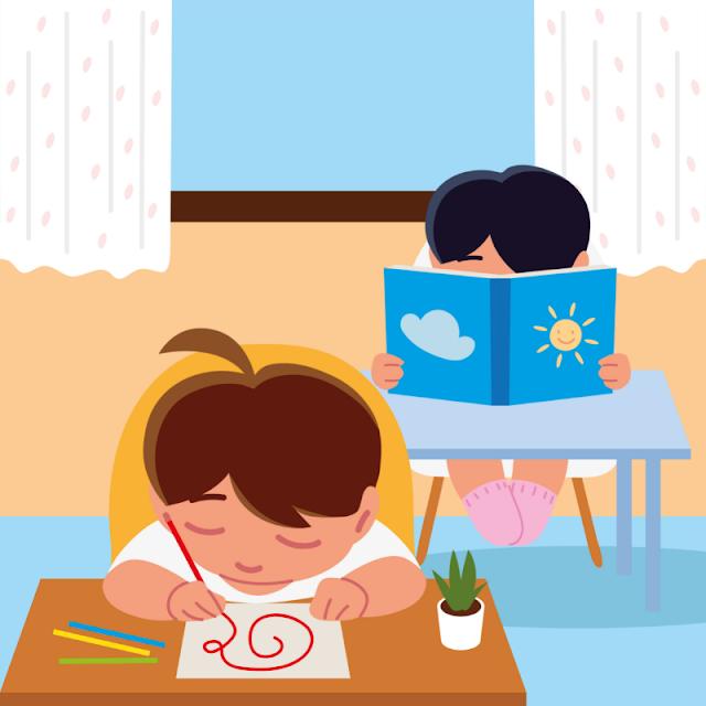 Gambar Kartun Anak Belajar di Rumah (29)