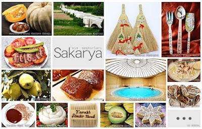 Sakarya'nın meşhur şeylerini gösteren resimlerden oluşan kolaj