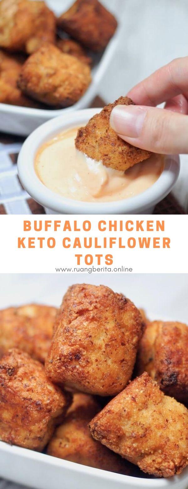 Buffalo Chicken Keto Cauliflower Tots #appetizer #snack #buffalo #chicken #keto #cauliflower #tots