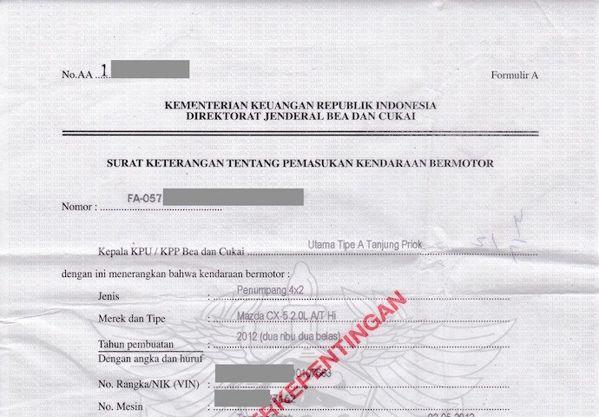 Formulir A untuk MObil CBU