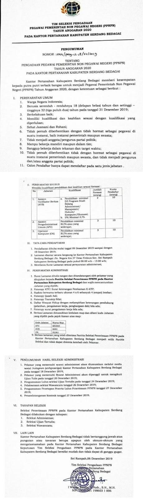 Rekrutmen Tenaga PPNPN Badan Pertanahan Nasional Tingkat SMA D3 Desember 2019