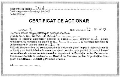 Certificat de actionar GAIA