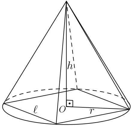 Pirâmide quadrada inscrita e um cone