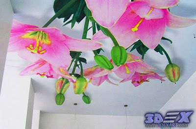 3d ceiling flowers mural, 3d photo printing on ceiling 2019