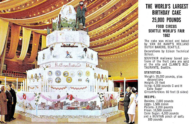 at the 1962 Seattle World's fair, a 25,000 pound cake with 18,000 eggs for Paul Bunyan, a color photograph