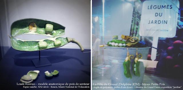 A gauche : cosse de pois de senteur de Louis Auzoux en papier mâché et fer,exposition Jardins, Le Grand Palais. à droite: bijoux petits pois en argile de polymère, Delphine R2M (La Fille du Consul)