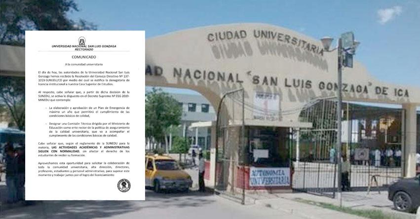 UNICA: Universidad San Luis Gonzaga de Ica responde tras denegatoria de licenciamiento por la SUNEDU