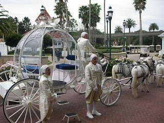 Disney Princess Cinderella Wedding Carriages with some Guards standing in Rows