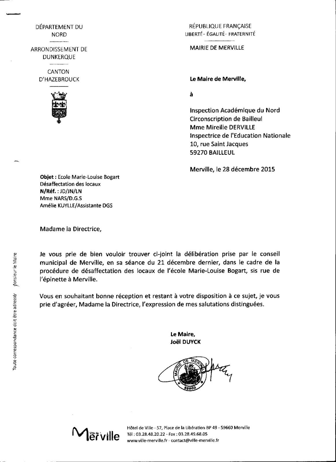 Sauvons l'école Marie-Louise Bogart: 63°) Lettre du Maire à l'Inspection Académique, du 28 ...