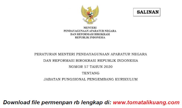 Permenpan RB Nomor 57 Tahun 2020 tentang Jabatan Fungsional Pengembang Kurikulum PDF tomatalikuang.com