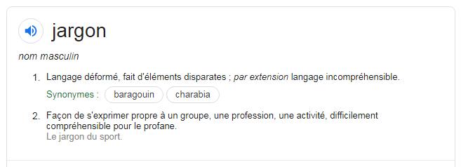 """définition du mot """"jargon"""""""