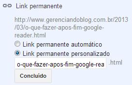 Link personalizado no blogspot