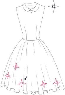 Langkah 3. Cara mudah menggambar Long Dress Motif Bunga