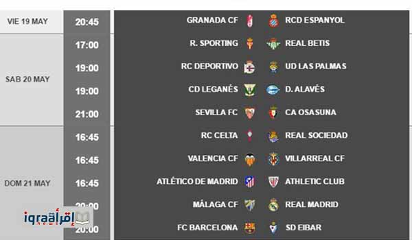 مواعيد مباريات الجولة الأخيرة من الدوري الإسباني ومواعيد مباريات ريال مدريد وبرشلونة القادمة