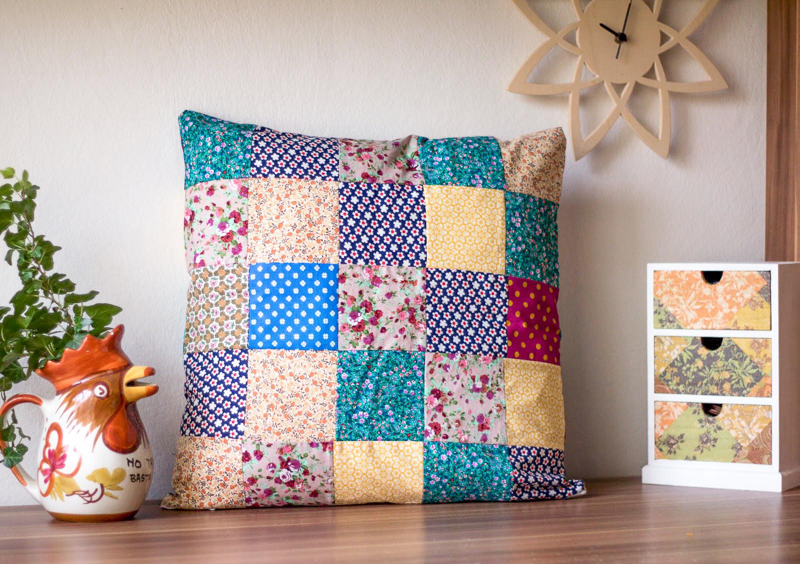 diy patchwork kissen n hen green bird diy mode deko. Black Bedroom Furniture Sets. Home Design Ideas