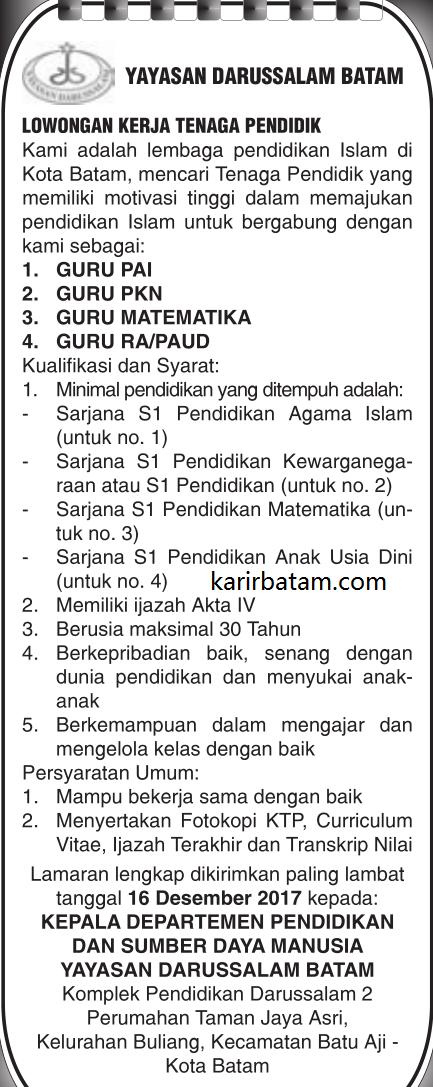 Lowongan Kerja Yayasan Darussalam Batam