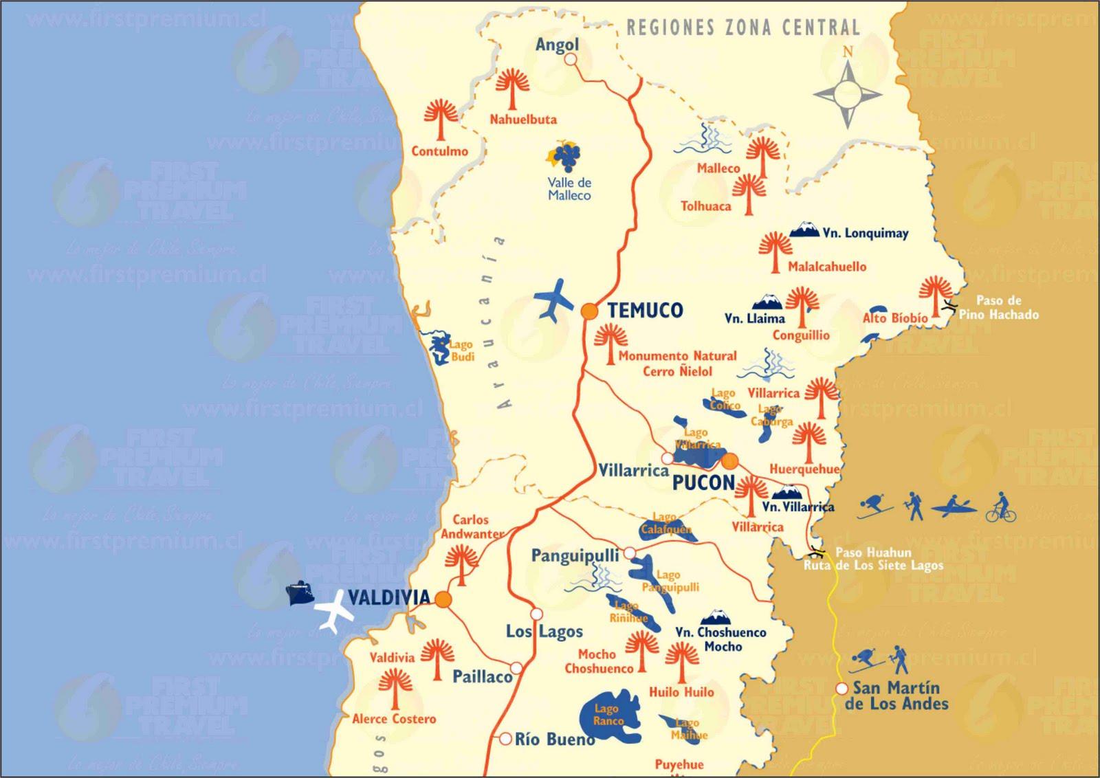 Mapas de Pucon - Chile | MapasBlog