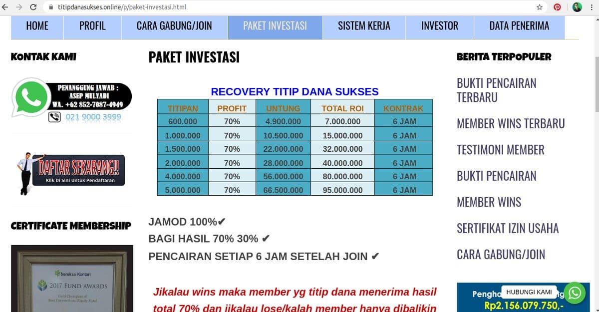 penipuan investasi titip dana sukses