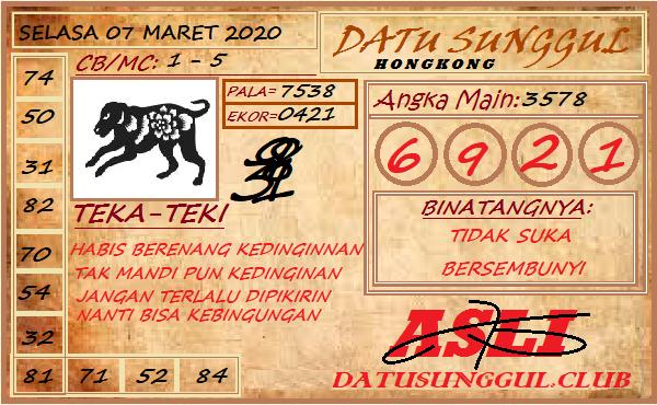 Prediksi HK Malam Ini Selasa 07 April 2020 - Datu Sunggul HK