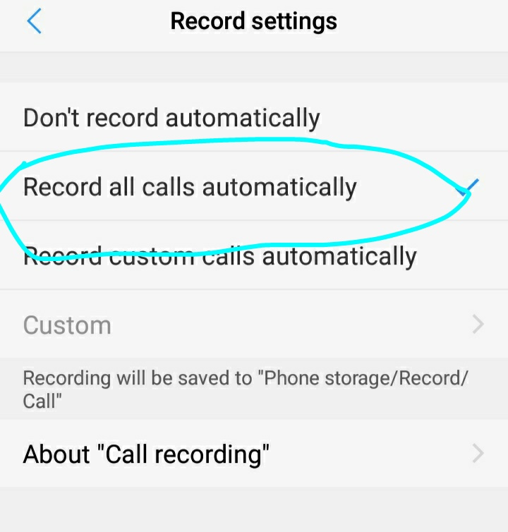 get call record automatic
