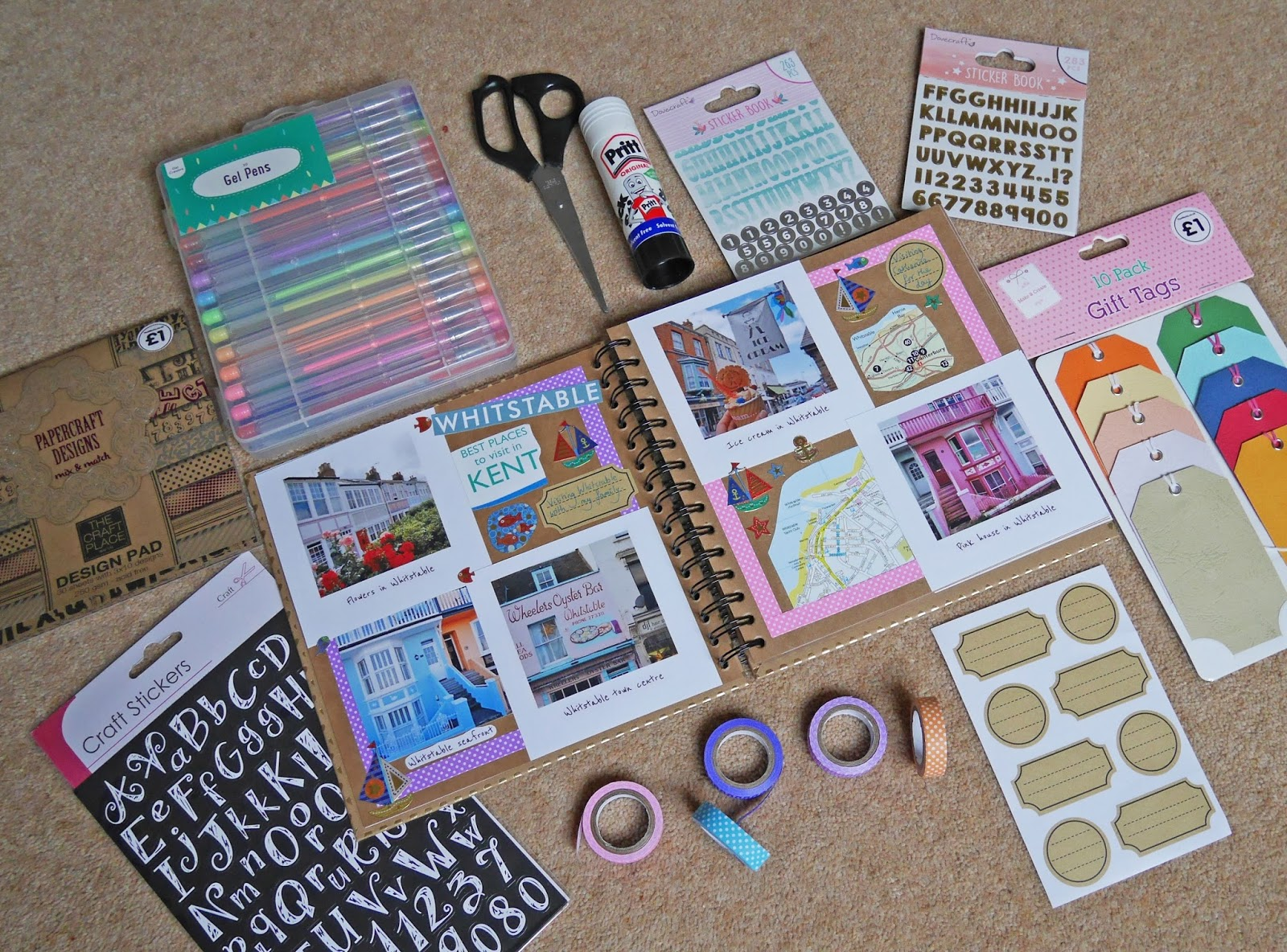 Scrapbooking starter kit for beginners - backing paper, stickers, washi tape and more