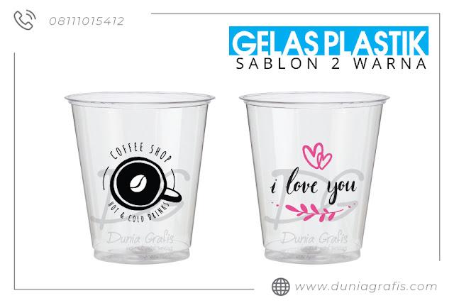 Sablon Gelas Plastik 2 Warna www.duniagrafis.com