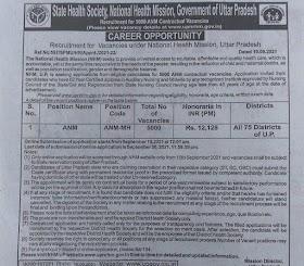 Recruitment for Vacancies under national health mission uttar Pradesh