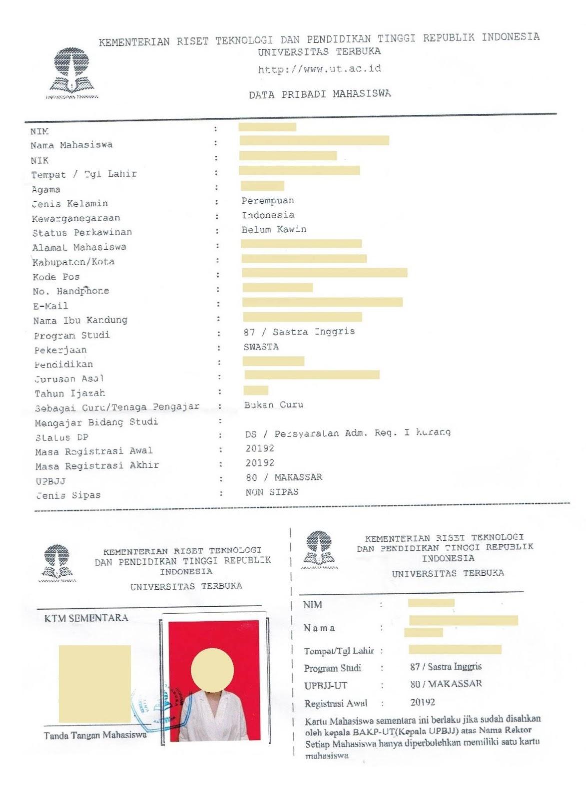 Proses Pendaftaran Universitas Terbuka