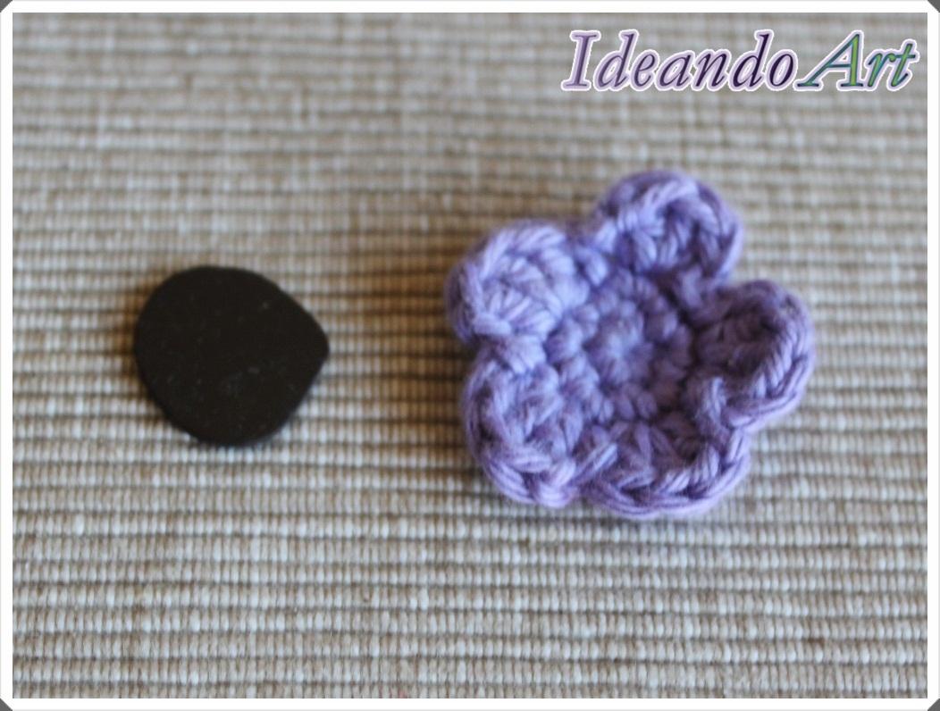 Imán DIY flor crochet