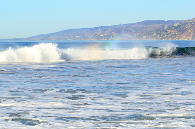 Rainbow in the Surf - Santa Monica CA - Photo by Mademoiselle Mermaid
