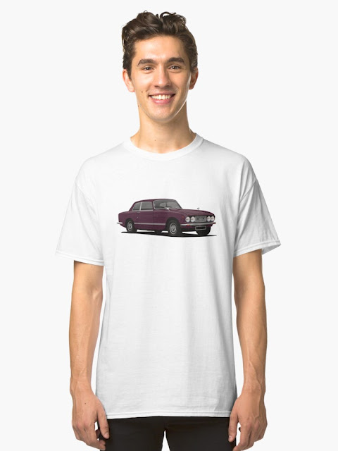 bristol 411 s5 - blue - classic car  t-shirt - red