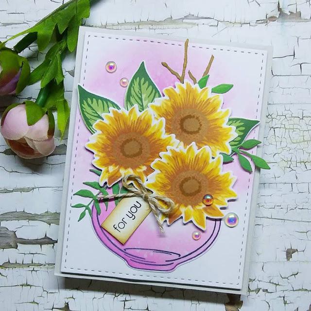 Sunny Studio Stamps: Sunflower Fields Customer Card by Bel Agtarap