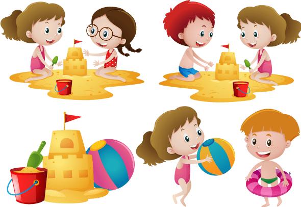 Dibujos cartoon de chicos jugando en la arena de la playa con cubos y palas construyendo castillos de arena y con flotador