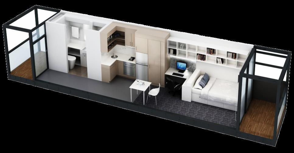 Las Casitas container homes interior layout