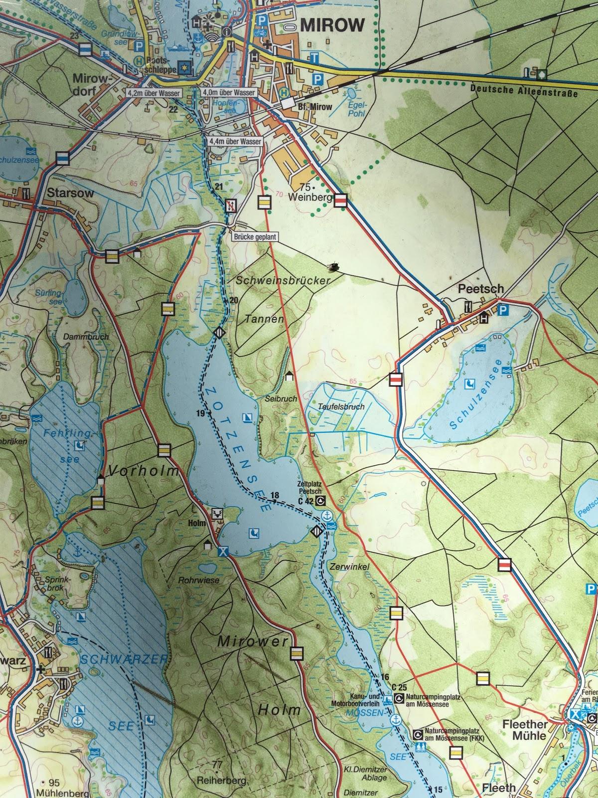 Karte seenplatte paddeln mecklenburger Kanu fahren,