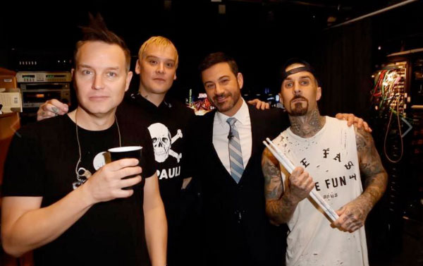 """blink-182 perform """"I Miss You"""" and """"Kings of the Weekend"""" on Kimmel"""