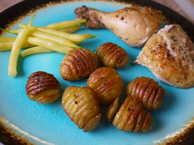 Roast Chicken with Little Hasselback Potatoes