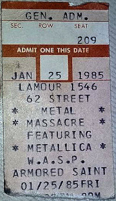 Here's a ticket stub from the January 25th Metallica/WASP show