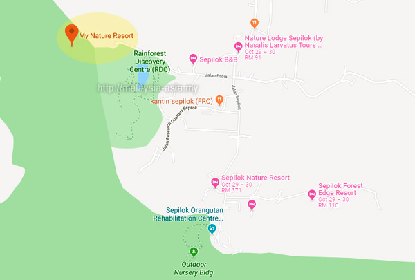 Map to My Nature Resort Sepilok