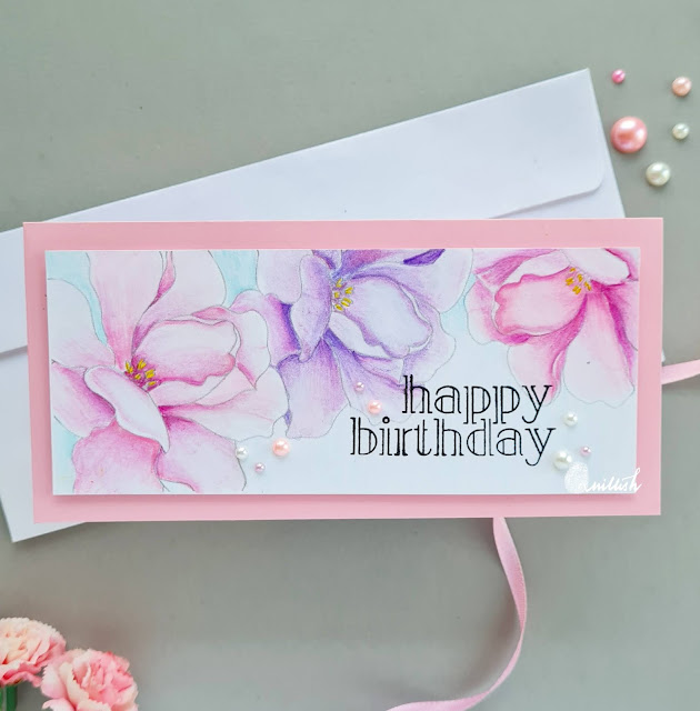 Floral slim line card, Alex Syberia designs digital stamps, floral birthday card, card in pink and purple, Digital stamps coloring, quillish