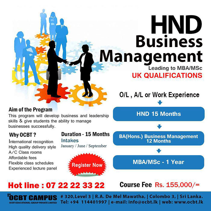 HND leading to MBA/MSc @ OCBT