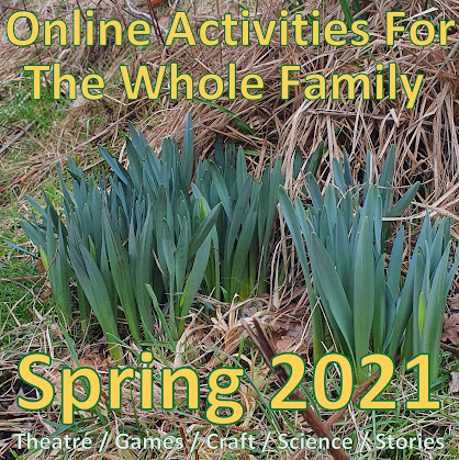 Image of spring daffodil shoots poking through grass, and text