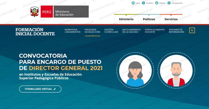 MINEDU: Convocatoria para Encargo de Puesto de Director General 2021 en IESP o EESP (R. VM. N° 262-2020-MINEDU)