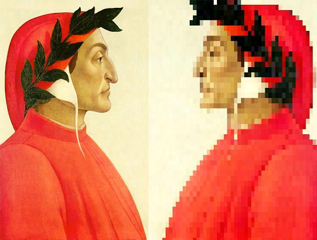 Retrato de Dante de Boticelli frente a su reflejo en Pixelart