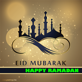 happy Ramadan with EID Mubarak Greetings mosque