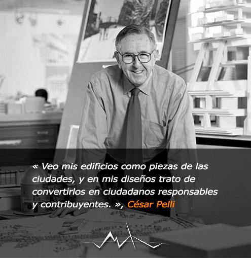 El Arquitecto César Pelli en su Estudio posando para la camara